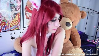 Redhead Neko Cosplay Girl Masturbating In Webcam