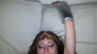 Dirty Amateur Wonder Woman Cosplayer MILF Gives Blowjob And Gets Fucked POV
