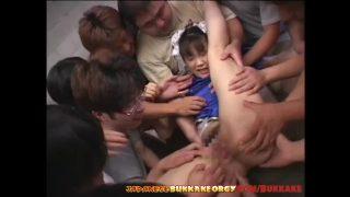 Japanese Chun-Li Cosplayer Mouth Fucked In Huge Bukkake Orgy