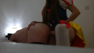 Femdom Mistress Cosplaying as Snow White Fucks a Guy With a Strapon Dildo