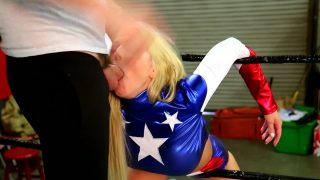 Female Captain America Cosplayer Wrestled And Gets Rough Mouth Fuck