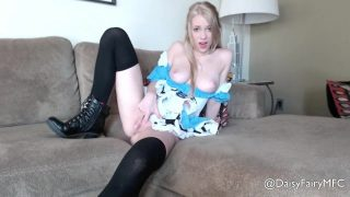 Blonde Alice in Wonderland Cosplayer Spreads Her Legs Wide and Fingers Her Pussy