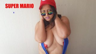 Cosplay of Super Mario Teases Her Pussy and Gets Cum All Over Her Face