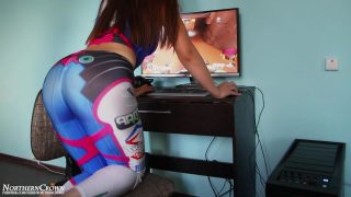 D.Va Cosplayer gets fucked and cums endlessly playing Overwatch.