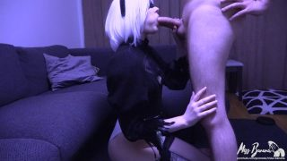 2B from Nier: Automata Cosplayer Sucks Cock Until He Cums In Her Mouth