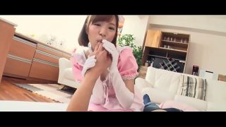 Cute Japanese Girl Cosplaying Maid Sucking Dick and Fucking In POV