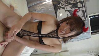 Japanese Babe Cosplaying Succubus Enjoying a Mouthful of Cum During Sloppy Blowjob