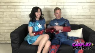 Captain America and Miss America cosplay couple fuck passionately on the leather couch