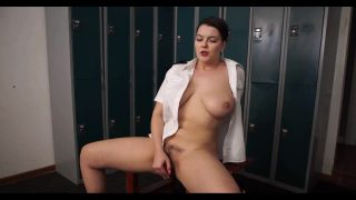 Chubby Police Officer cosplayer fucking herself with a dildo in the locker room