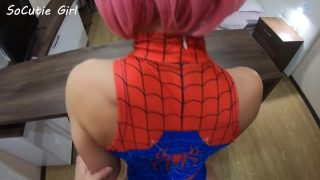 Pink haired teen cosplaying Spider Girl getting bent over and fucked