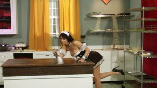 Sexy maid cosplayer strips on counter instead of working