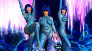 Three blue alien cosplayer babes put on a cam show