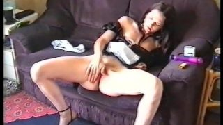 Hot maid cosplayer playing with her pussy instead of working