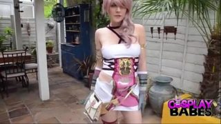 Aeris Gainsborough from Final Fantasy cosplayer cums from outdoor masturbation session