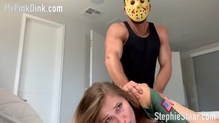 Sexy army babe cosplayer getting fucked by Jason from Friday the 13th