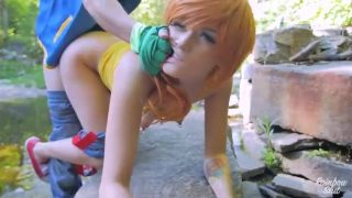 Misty and Ash from Pokemon cosplayer fucks by the river