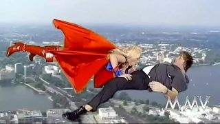 Kelly Trump cosplaying Supergirl sucking cock while flying