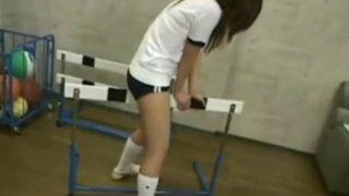 Japanese schoolgirl cosplayer grinds against gym equipment