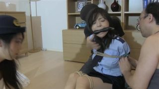 Asian teen cosplaying police officer gets restrained and bound