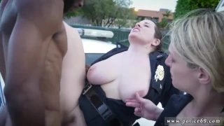 Hot policewoman cosplayers getting fucked roadside by BBC