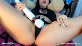 Sexy neko cosplayer soaks her panties with her pussy juice