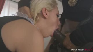 Sexy maid cosplayer getting throatfucked by black police officer
