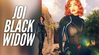 Gorgeous Black Widow cosplayer gives JOI while showing off her hot body