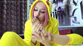Purple Bitch cosplaying Pikachu sucks her feet and plays with her toys