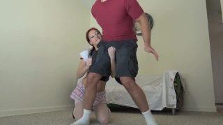 Schoolgirl cosplayer busts her step brothers's balls