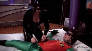 Catwoman cosplayer overpowers Robin and teases his cock hard