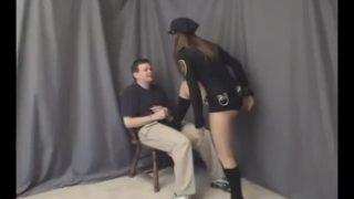 Police woman cosplayer tortures criminal with ballbusting
