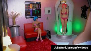Android MILF cosplayers Julia Ann and Jessica Jaymes give each other robotic orgasms