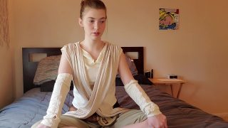 Teen Rey cosplayer wants you to watch her touch her tight pussy