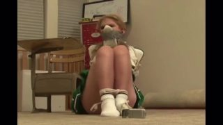 Schoolgirl cosplayer is tied up and shoegagged