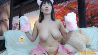 Asian Neko schoolgirl cosplayer touches herself and makes her tits bounce