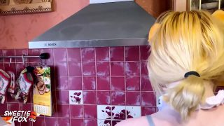 Foxy maid cosplayer gets fucked in the kitchen and he cums all over her tits