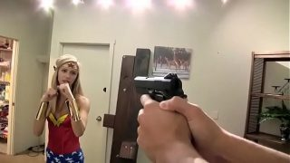 Wonder Woman cosplayer gets overpowered, fucked and strangled