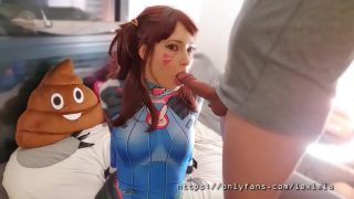 D.Va cosplayer gives sloppy close up blowjob