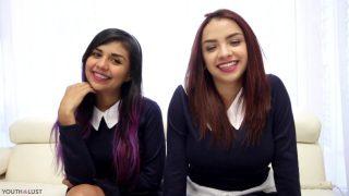 Teen schoolgirl cosplayers share cum after threesome