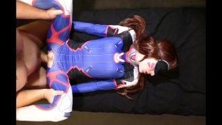 D.Va cosplayer moans loudly from fuck