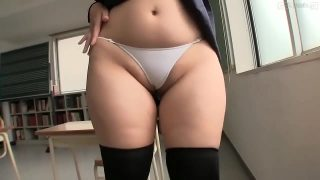 Chubby Asian schoolgirl cosplayer rubs her pussy on classroom chair