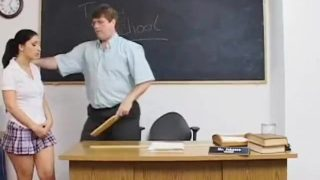 Naughty schoolgirl cosplayer gets spanked by her teacher
