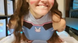 D.Va cosplayer double penetrates herself with toys