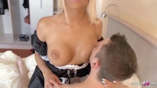 German maid cosplayer sucks off and fucks younger man