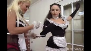 Maid cosplayer gets tied up and teased in lesbian maid training