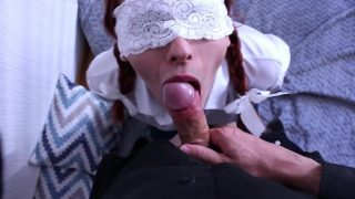 Gorgeous schoolgirl cosplayer is blindfolded for cocksucking and fucking