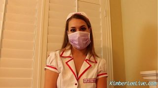 Pretty young nurse cosplay strokes cock with latex gloves