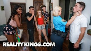 Busty Julie Cash cosplaying police officer sucks cock and gets fucked at house party