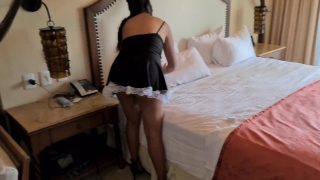 Hotel maid cosplayer gets paid for anal