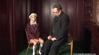 English schoolgirl cosplayer gets caned on her bare ass